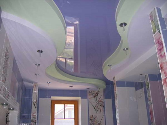 натяжной потолок фото 2 уровня